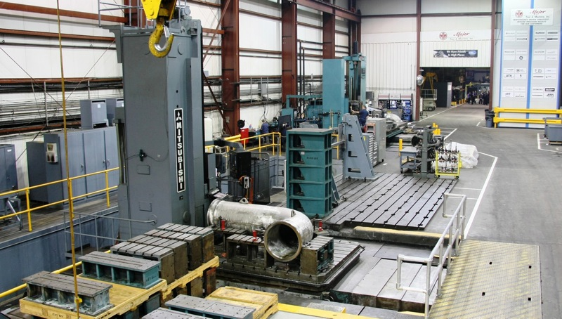 "40ft Mitsubishi Horizontal Mill   498""X, 157""Y, 35""Z, 26""V, 115""W, B  100,000 lbs table capacity  Fanuc Control"