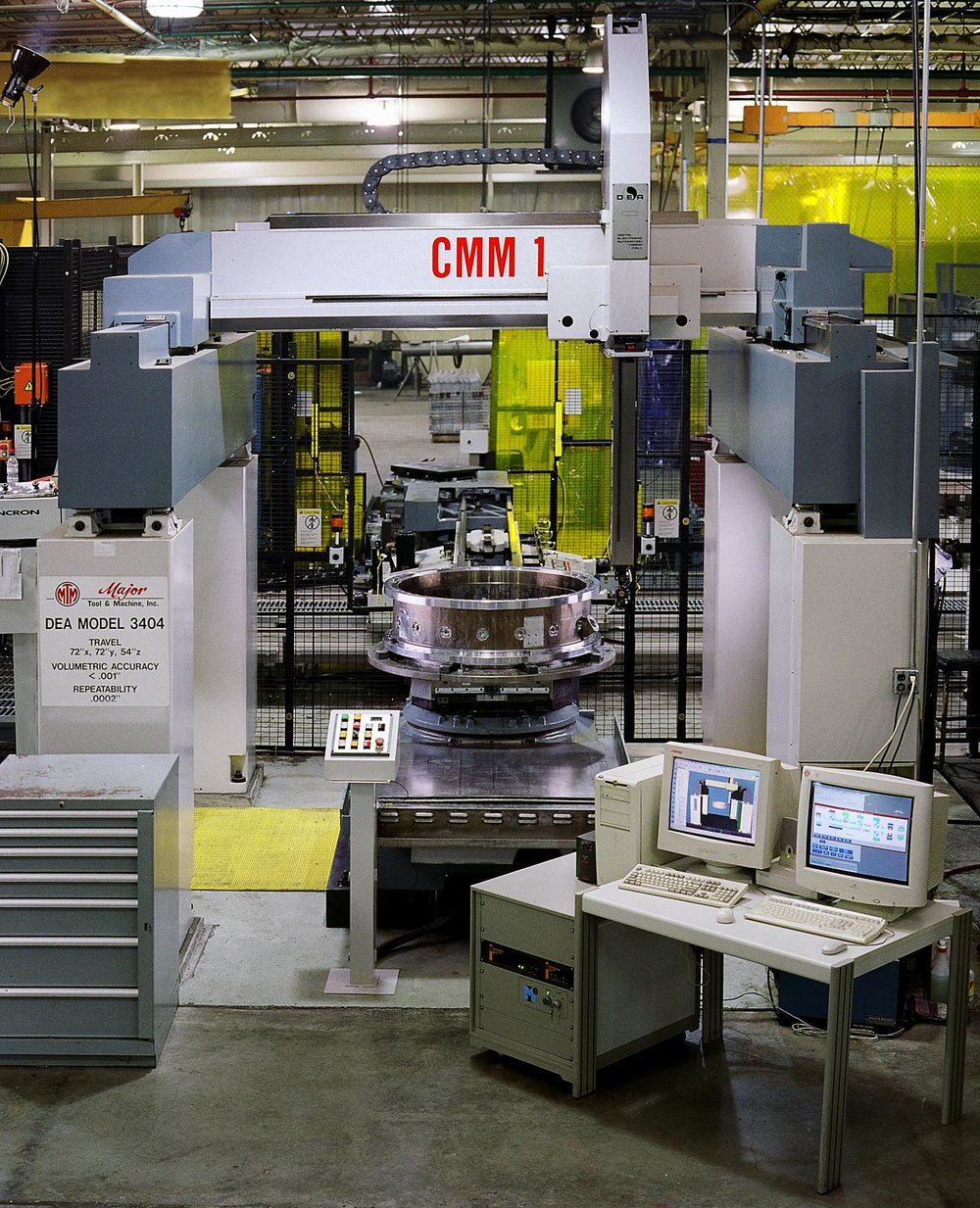 Flexible Manufacturing Cell - CMM   4X, Cincinnati Milacron T35 N, 5-axis, twin pallet  2X, Giddings & Lewis VTC 1600 Lathes  1X, Integrated CMM  2X, Integrated Load/Unload Stations