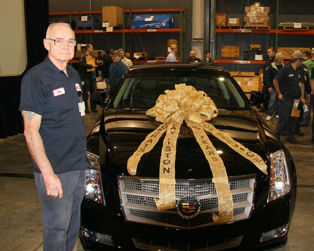 Ray receiving a Cadillac for reaching 50 years of service