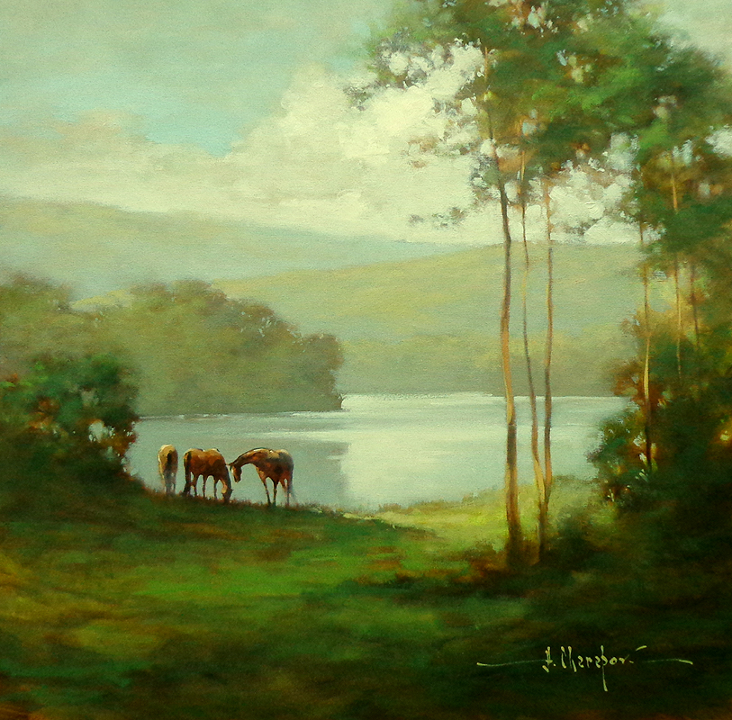 The Horses at the River 30x30