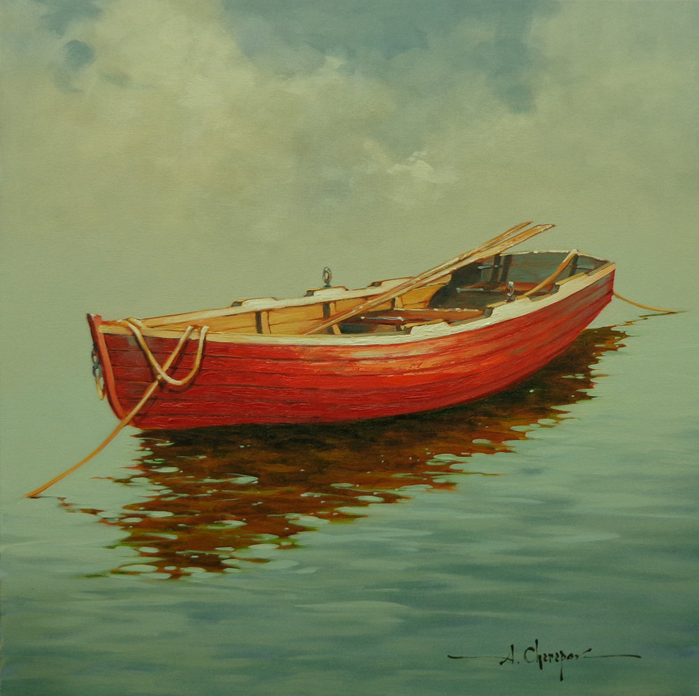 Red Row Boat|30x30