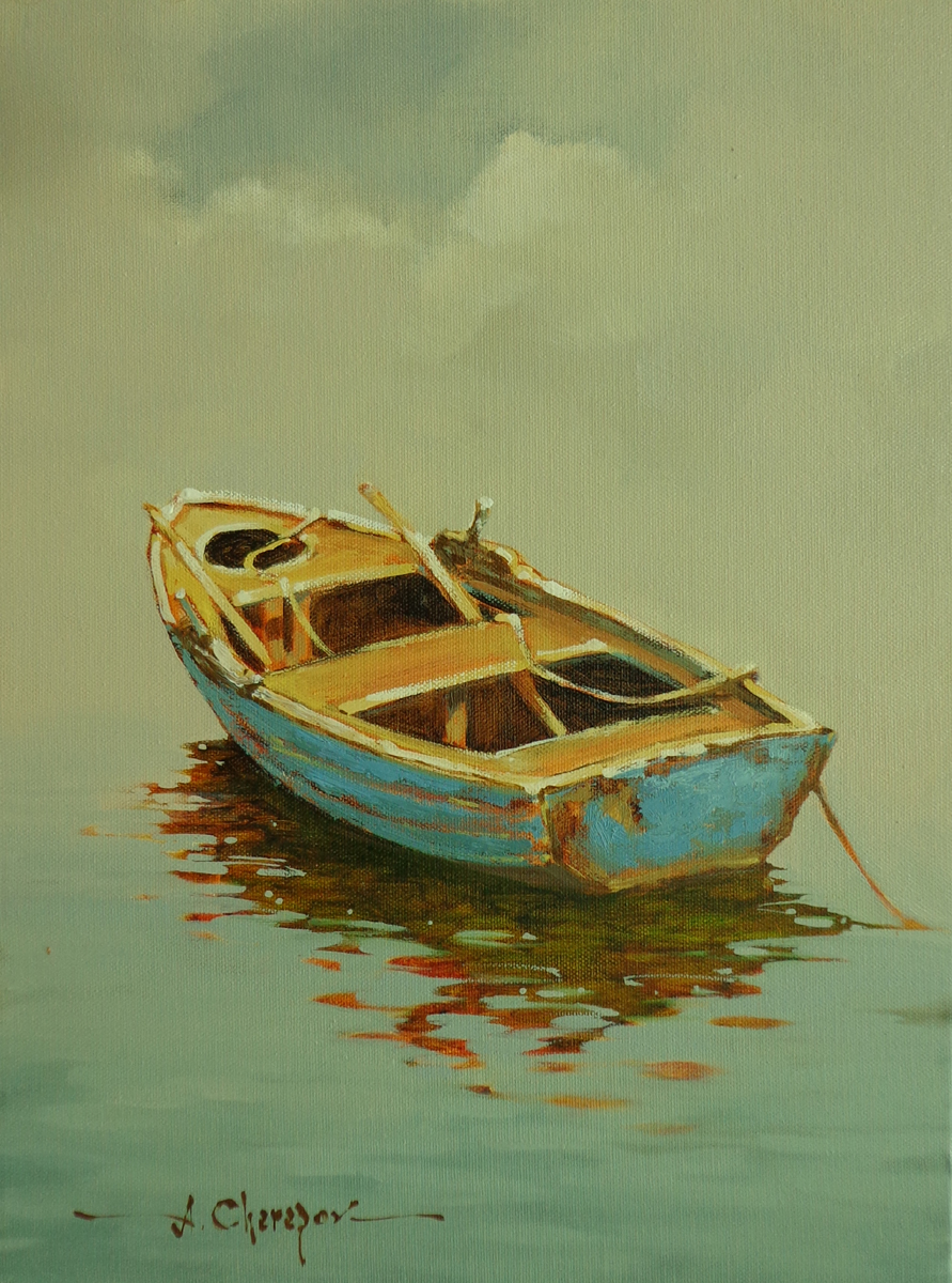 Blue Row Boat|12x16