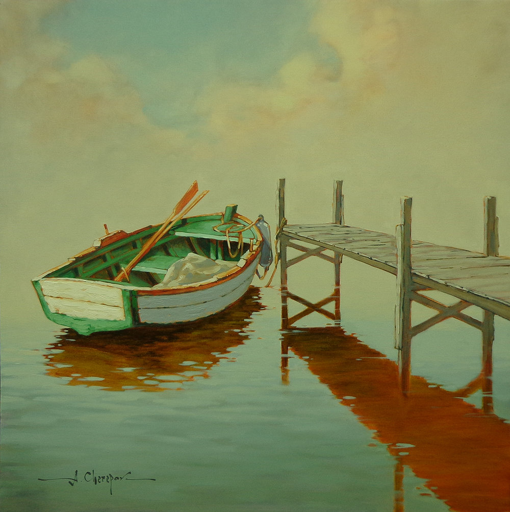 White Rowboat at the Dock|36x36