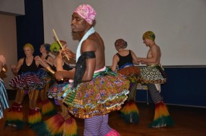 """Above:Guests relax at the home of Kathy and Ned Putnam, and African Dancers at the """"Here Comes the Sun"""" event in MA"""