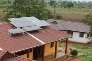 Featured above: The newly finished school entrance and solar panels.