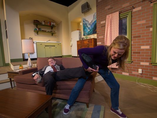 "Katie Lynne Krueger (as Corie Bratter), Donna Lobacz (as Mrs. Banks), and Ben Johnson (as Paul Bratter) play out a scene in ""Barefoot in the Park."" The WCT production runs through June 18. (Photo: WCT/submitted)"