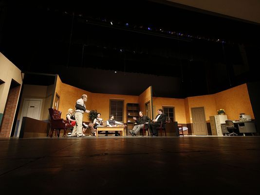 "The cast rehearse Act 2 of the play ""Getting Away With Murder"" in West Allis Central High School Wednesday, April 12, 2017. (Photo: Peter Zuzga/Now Media Group)"