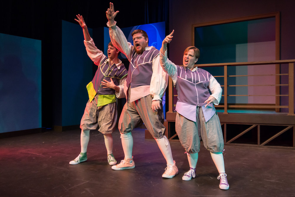 """JJ Gatesman, from left, Nicholas Callan Haubner and Jillian Smith perform a rap song in a scene from Waukesha Civic Theatre's """"The Complete Works of William Shakespeare (Abridged)."""""""