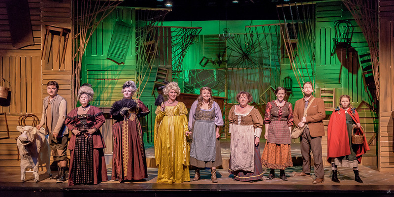"Fairy tale characters appear in Sunset Playhouse's ""Into the Woods."" Pictured, from left, are Jack (Simon Earle), Cinderella's stepmother (Barb McGuire), Stepsisters (Sarah Briana Monahan and Ashley Patin), Cinderella (Hannah Esche), Jack's Mother (Paula Garcia), Baker's Wife (Carrie A Gray), Baker (Nathan Marinan) and Little Red Riding Hood (Ella Rose Kleefisch)."