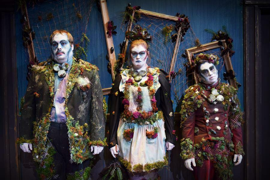 """The Three Stones, from left, Jordan Burac, Megan Johnson and Benjamin Gienke, guide residents in the underworld in UW-Waukesha's """"Eurydice."""" Jazmin Aurora Medina's clever costumes helped create a whimsical tone to the show."""