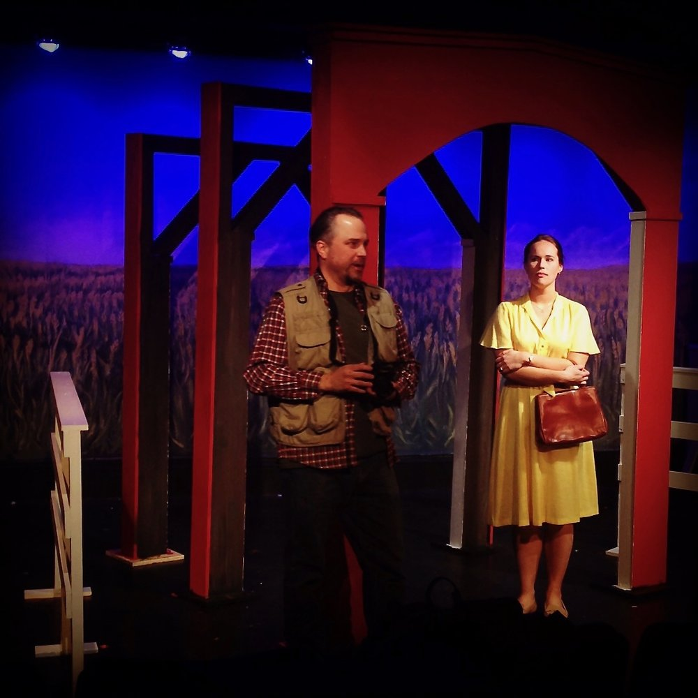 """Eric Madson and Katie Berg star in Lake Country Playhouse's """"Bridges of Madison County."""" (Photos by Jim Baker.)"""