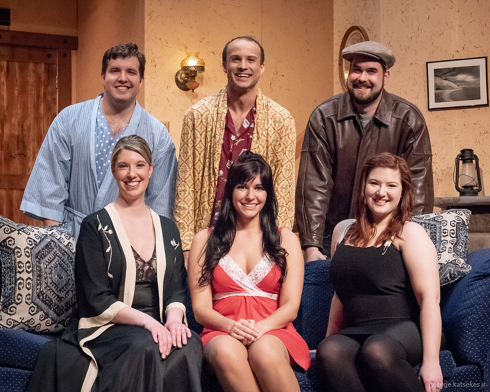"""Sunset assembles a fine ensemble cast for 'Don't Dress for Dinner."""" Pictured are from left, top, Tyler Peters as Robert, Keith R. Smith as Bernard, Nick Zuiker as George, bottom, Lori Nappe as Jacqueline, Allison Chicorel as Suzanne and Ella Folkerts as Suzette."""