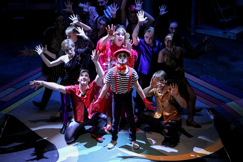 "Allan Zablocki (center, front) stars in Lake Country Playhouse's and University of Wisconsin-Waukesha's presentation of ""Pippin."""