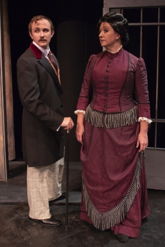"John Wilkes Booth (Corey Jefferson Hagen) and Mrs. Mary McVicker Booth torment Edwin in ""This Prison Where I Live."""