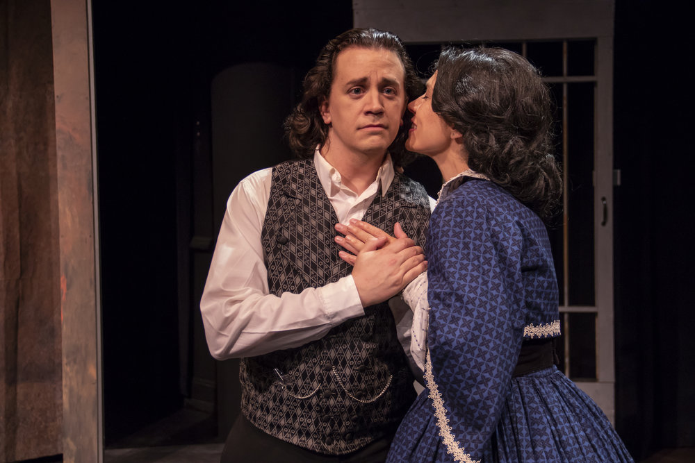 "Edwin Booth (Jared McDaris) is visited by the ghost of his dead wife Mollie (Andrea Burkholder) in ""This Prison Where I Live."""