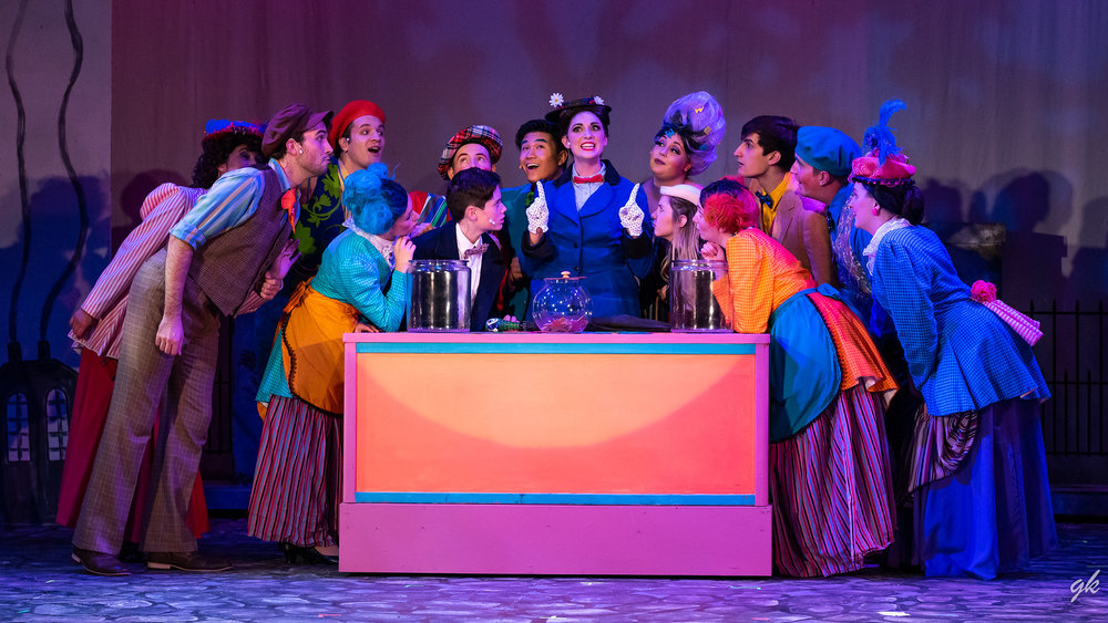 "Mary Poppins (Briana Rose Lipor) makes a point during the ""Supercalifragilisticexpialidocious"" scene in Sunset Playhouse's ""Mary Poppins."""
