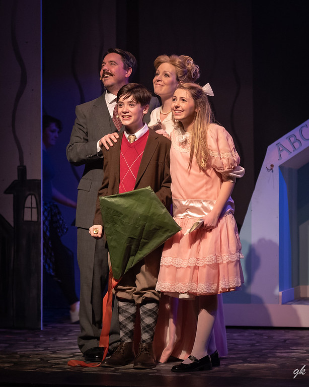 "Brant Allen, Casey Westphal, Carrie A. Gray and Ella Rose Kleefisch portray the Banks' family in Sunset Playhouse's ""Mary Poppins."""