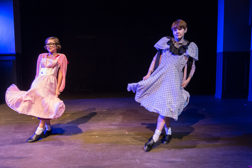 "Michael (Liam Thomas), left, and Billy Elliot (Ryan Vanselow) dance in dresses from Michael's sister's bedroom in the ""Expressing Yourself"" scene."