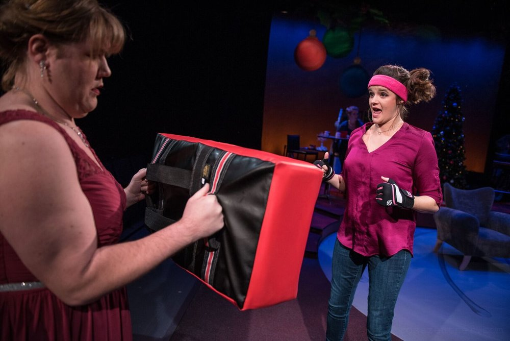 Mary (Susie Duecker) lets out her anger with some kick boxing.