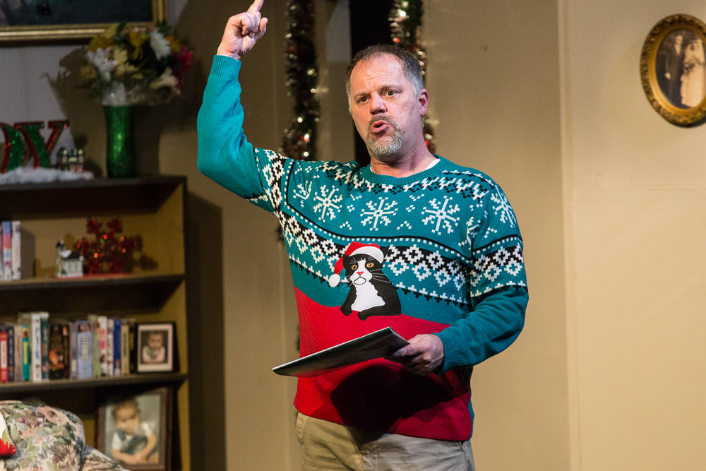 "Mike Owens plays the Christmas-loving Bill Bickford in Waukesha Civic Theatre's ""Candy Cane Tales and Holiday Tales."""
