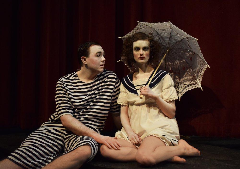 "Orpheus (Jake Schaumberg-Dineen) and Eurydice (Jessica Kennedy) share a tender moment in UW-Waukesha's ""Eurydice."""