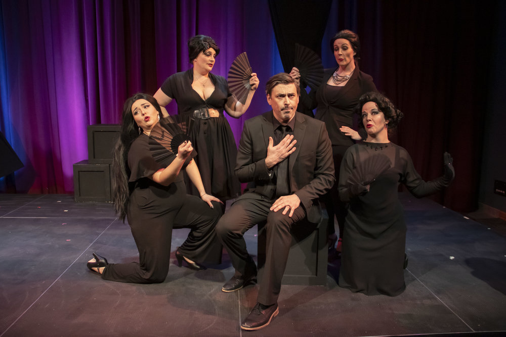 """In the """"Grand Canal"""" scene, Guido (Timothy J. Barnes) plays Casanova surrounded by adoring women (from left, Hannah Esch, Jennifer Larsen, Carrie Gray and Laura McDonald."""