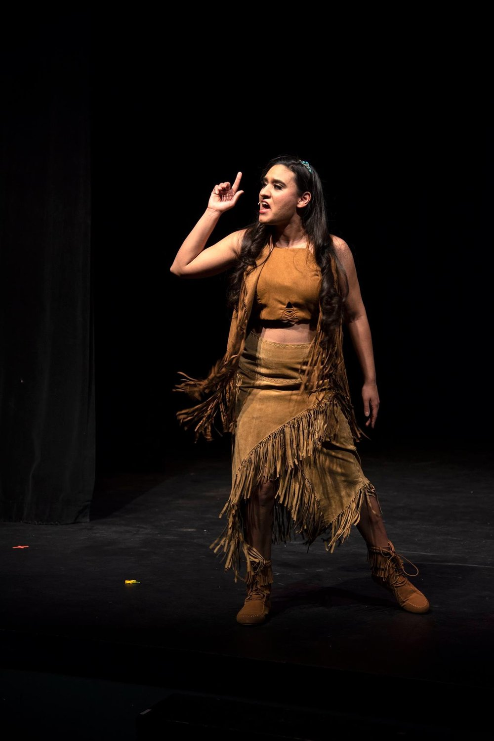 """Pocahontas (Ashley Rodriguez) passionately sings about how unrealistically she has been  portrayal in fairy tales in the song """"Honestly."""""""