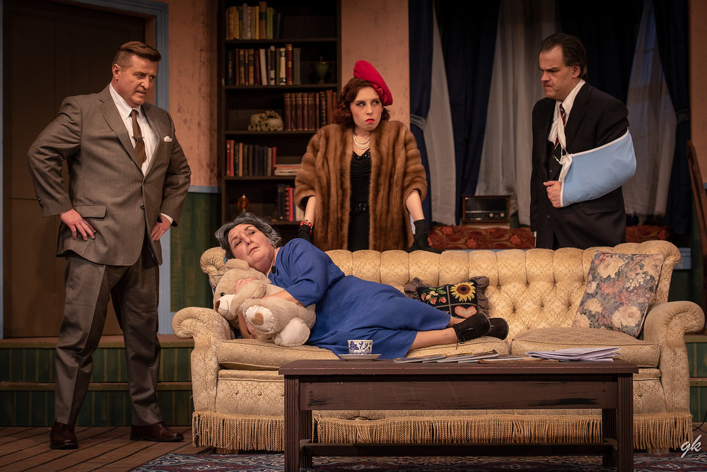 Ethel (Paula Garcia) feigns indifference as her angry stepchildren (from left, Jim Stahl, Becky Cofta and Jim Mallman) badger her to tell where she's hidden her inheritance.