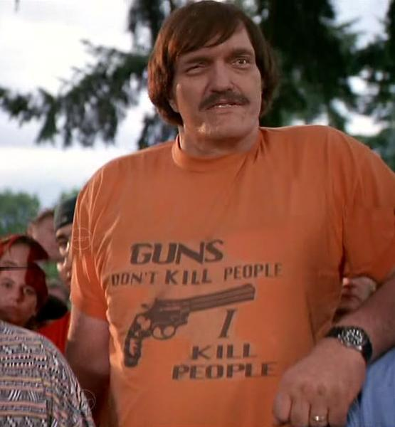 As hilarious and ironic as I've always found this shirt, it's simply the truth. A gun is an amoral tool - it is the person holding it that determines what it is used for.
