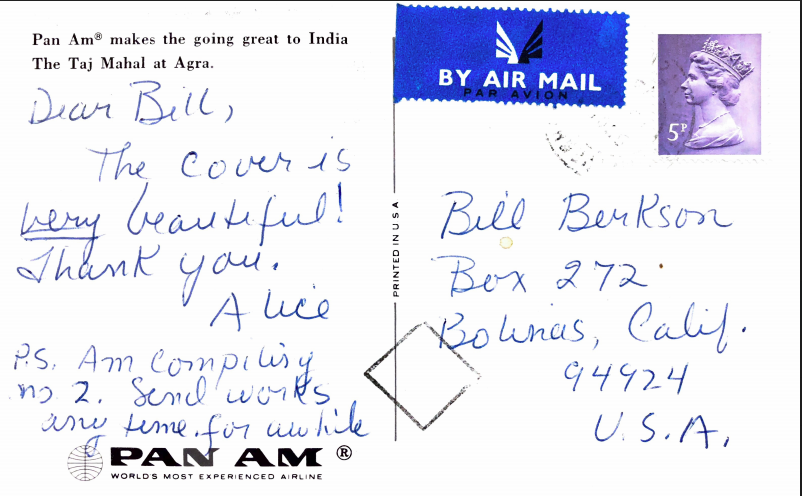 Postcard from Notley to Berkson after seeing the Alex Katz cover images for  Phoebe Light . Courtesy of the University of Connecticut Special Collections.