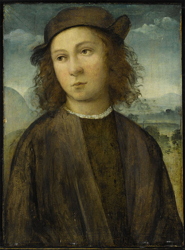 Agnolo di Domenico del Mazziere, formerly known as the Master of Santo Spirito Portrait of a boy, half length, in a landscape, dressed in black robes and cap oil on panel .jpg