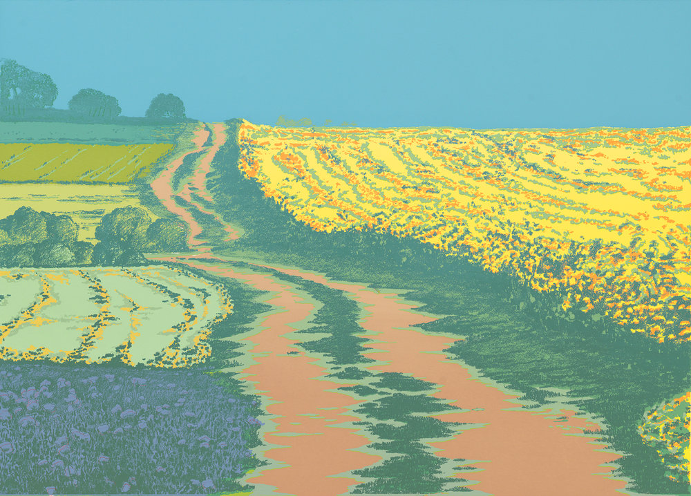 "251   Yellow Fields   15"" x 21"" 9 colors 10 edition / 5 available $375"