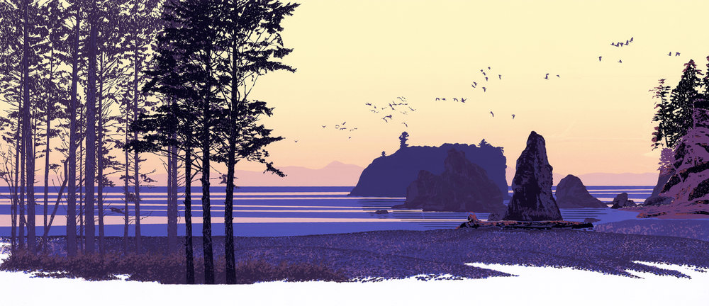 "189   Sea Stacks 2   12"" x 30"" – 305 x 760mm 22 colors 30 edition / 15 available $450"