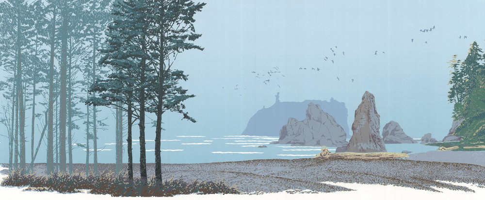 "188   Sea Stacks   12"" x 30"" – 305 x 760mm 22 colors 25 edition / 12 available $450"