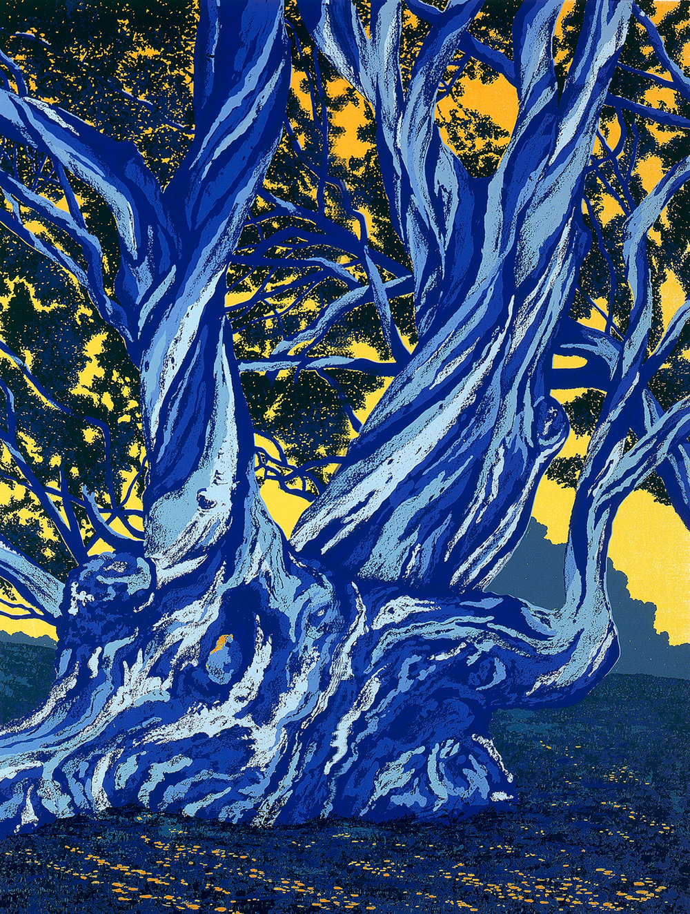 "187   Blue Gums - state 3   24"" x 18"" – 610 x 460mm 20 colors 10 edition / 4 available $450"