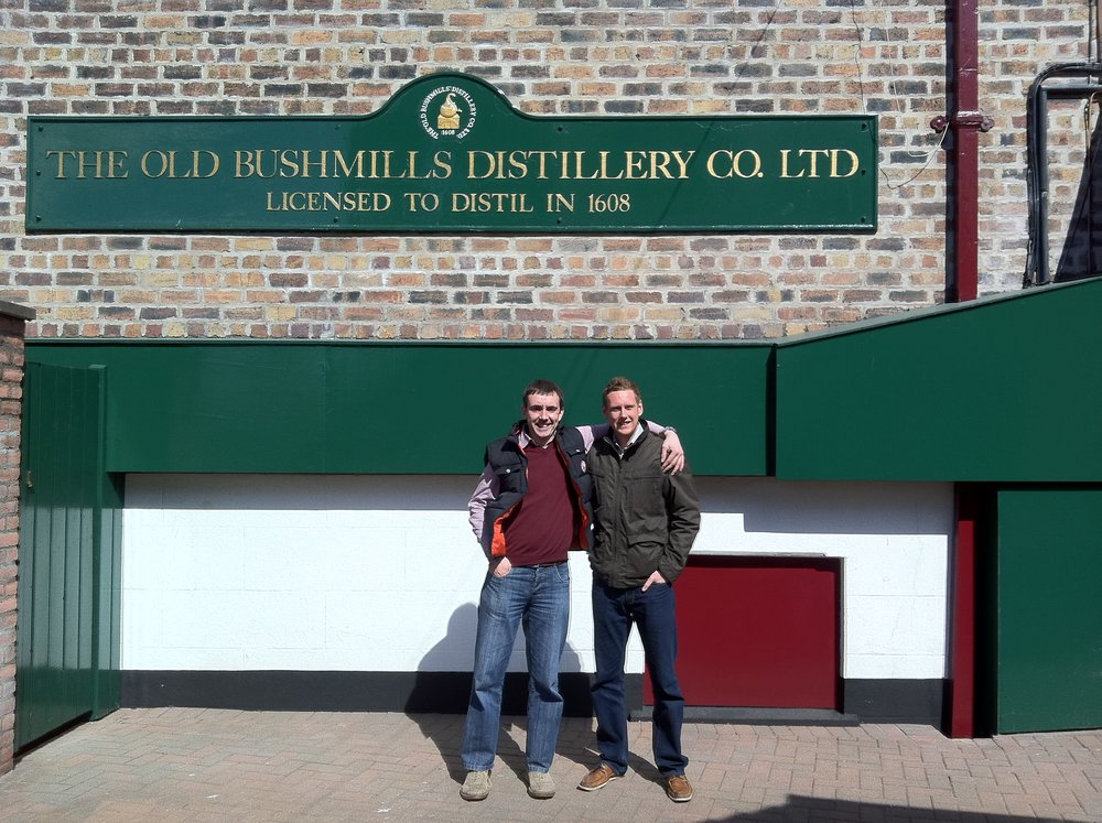 Peter Cobley and Chris Pattinson at Bushmills distillery