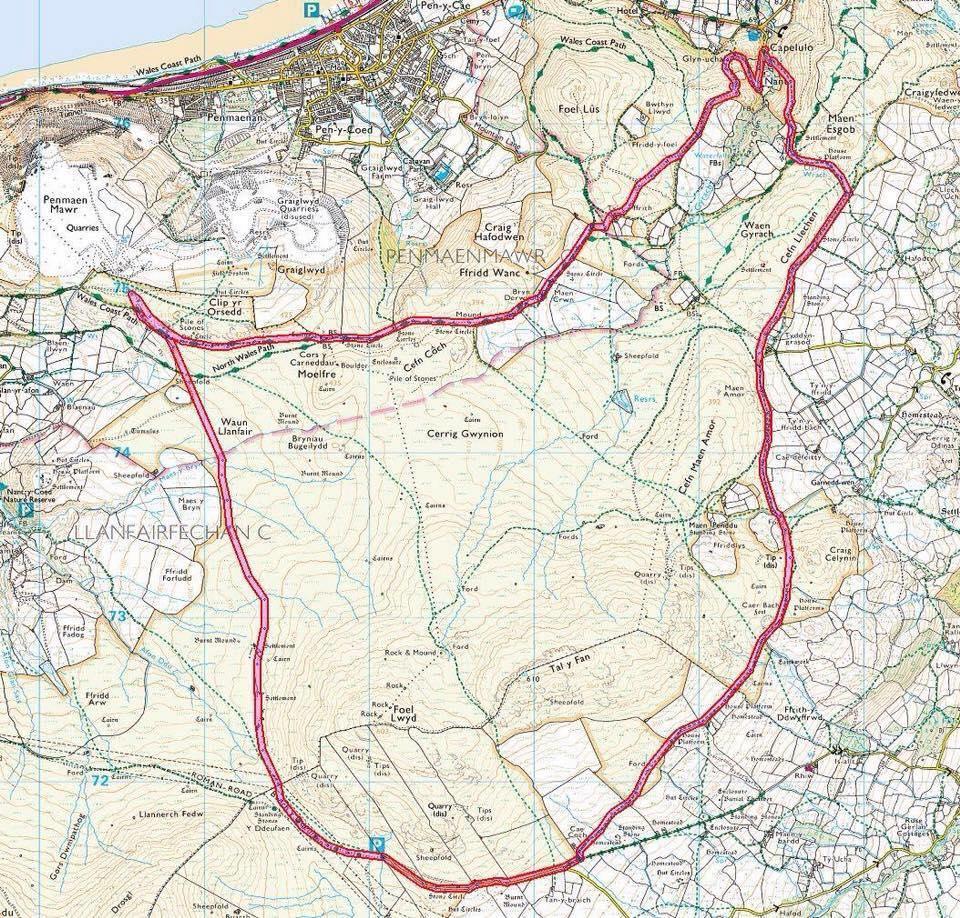Penmaenmawr fell race route.