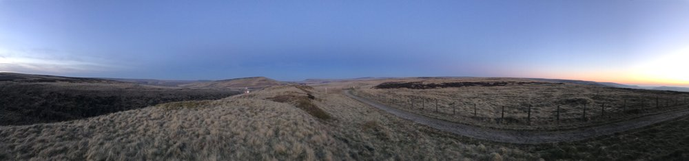 Panoramic photo from just after Brun Cough, looking to Pule Hill