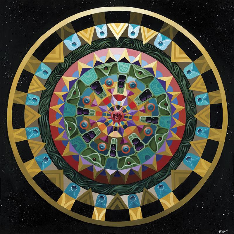 Mandala - 36 in x 36 in Acrylic on Wood Panel