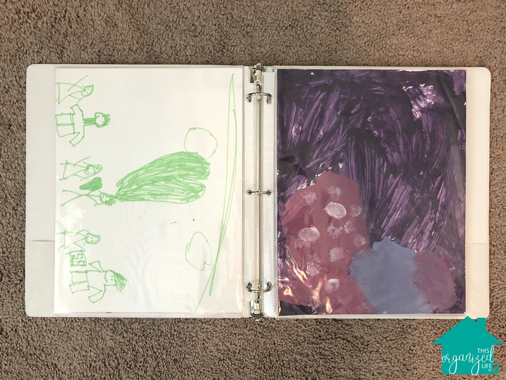 How to organize children's artwork using binders professional organizer AZ