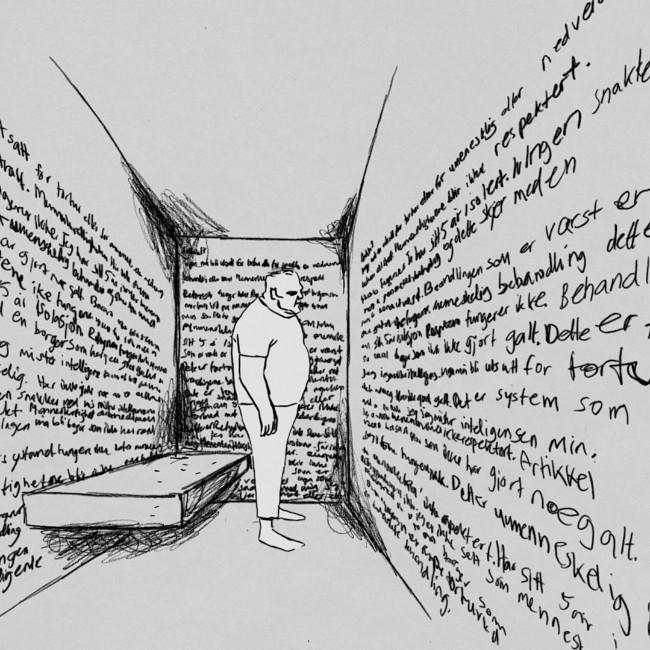 Langvarig isolasjon er tortur, sier en av de innsatte i dokumentaren «Fengslet og Forlatt». FOTO: ANIMASJON: MIKROFILM