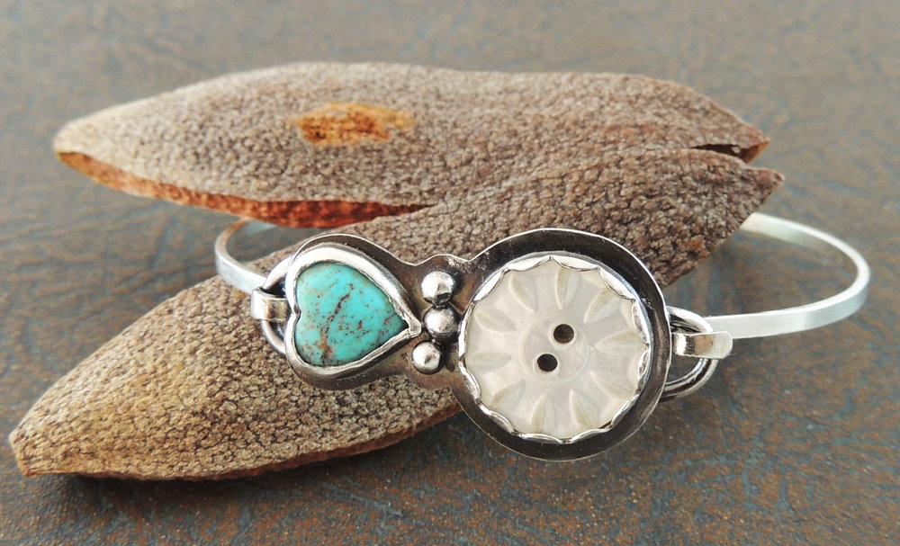 Sterling silver, turquoise heart and antique mother-of-pearl button bangle.