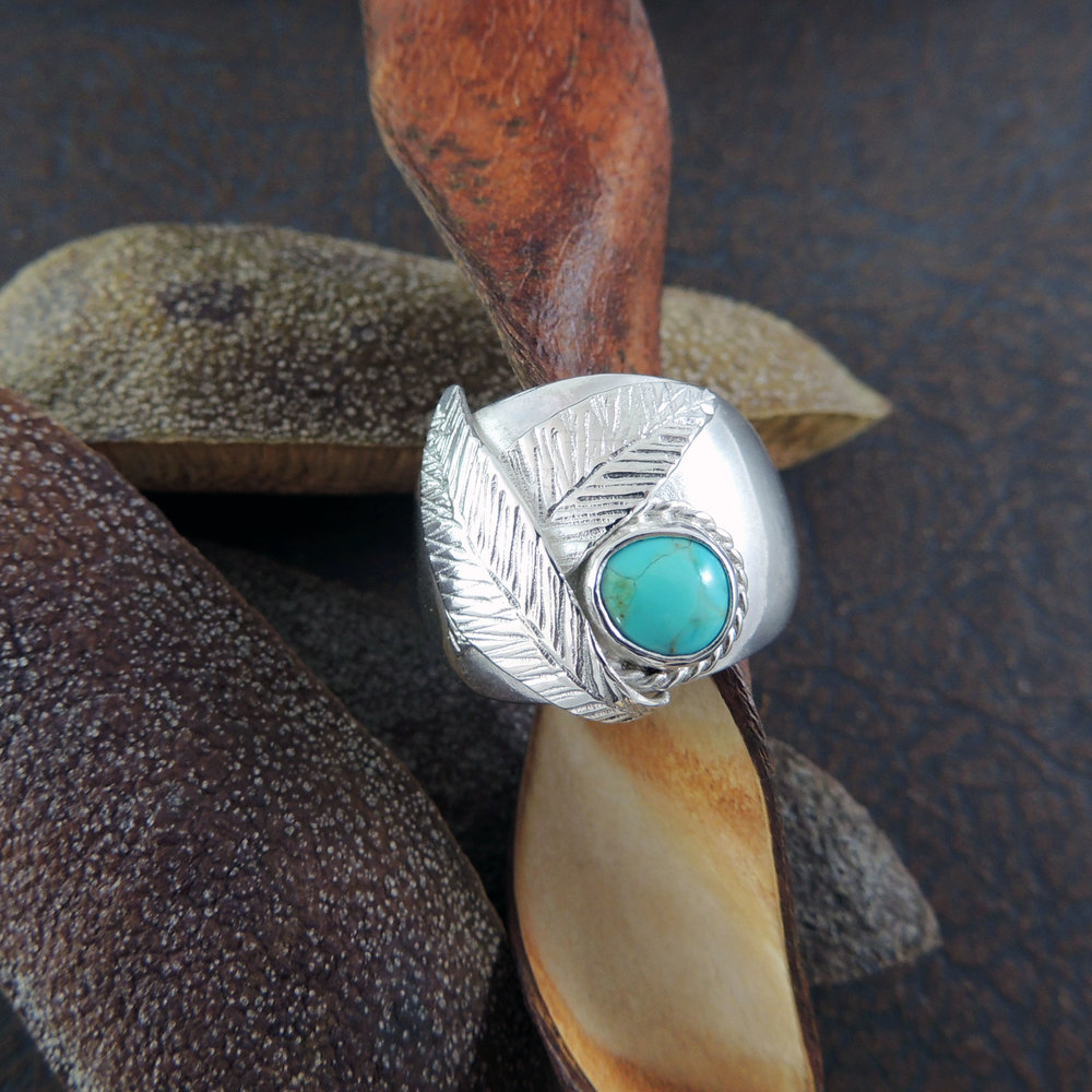 Sterling silver and turquoise ring.