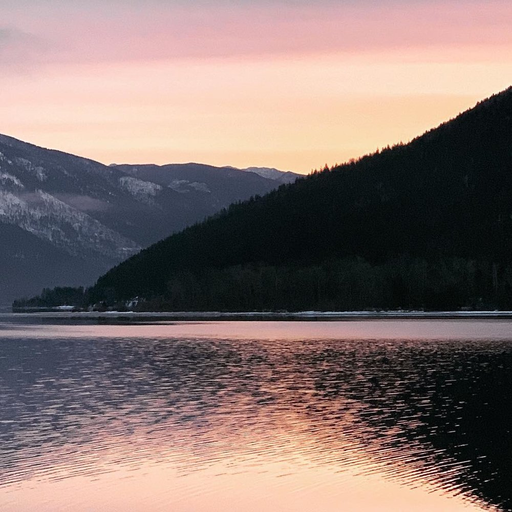 Spring sunrise outside my cabin, Kootenay Lake, Nelson, BC