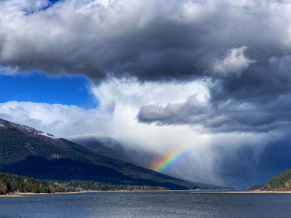 Hope + rainbows, outside my cabin this week, Nelson, BC