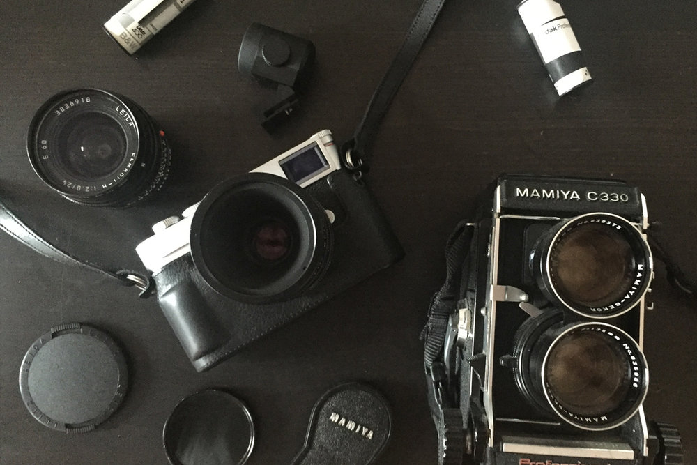 Some of my cameras, including my dad's Mamiya