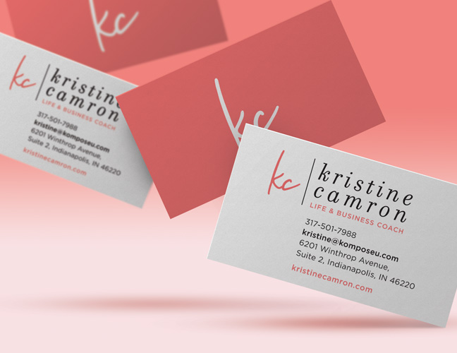 Vale Design - Kristine Camron website & branding word mark business cards