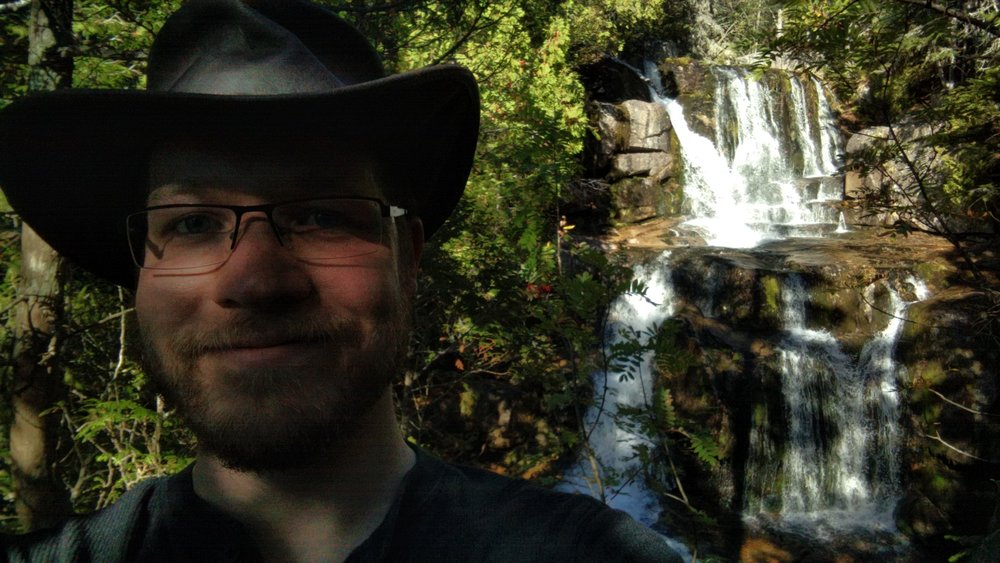 Up at Katahdin Stream Falls with my proper exploration hat.