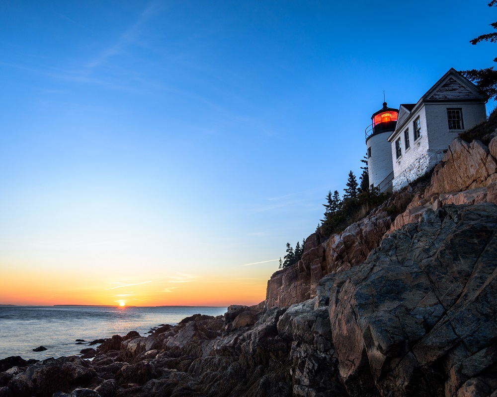 The Bass Harbor Head Light at sunset