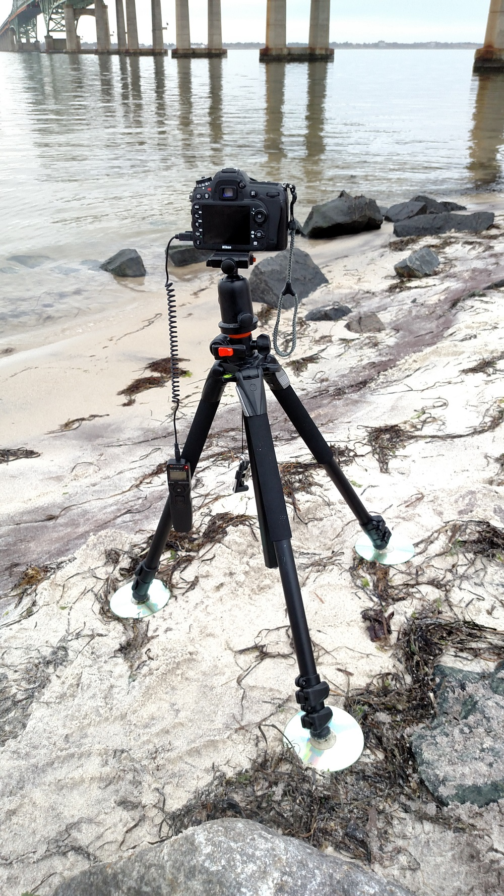 Here's my setup, I'm using my  Vanguard Alta Pro tripod  placed on CDs (I recently started keeping these in my bag to prevent sinking into the sand) and I have my cable release plugged in.